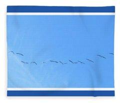 String Of Birds In Blue Fleece Blanket
