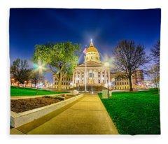 Topeka Kansas Downtown At Night Fleece Blanket