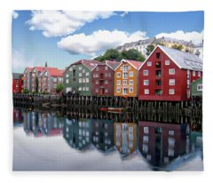 Trondheim Coastal View Fleece Blanket