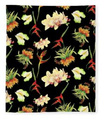 Tropical Island Floral Half Drop Pattern Fleece Blanket