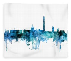 Washington Dc Skyline Fleece Blanket