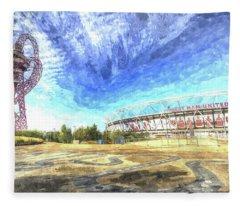 West Ham Olympic Stadium And The Arcelormittal Orbit  Art Fleece Blanket