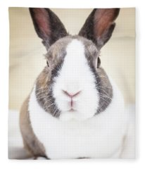 White And Tan Rabbit Fleece Blanket