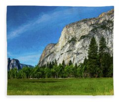 Yosemite Valley Meadow Panorama Fleece Blanket