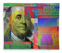 2009 Series Pop Art Colorized U. S. One Hundred Dollar Bill No. 1 Fleece Blanket