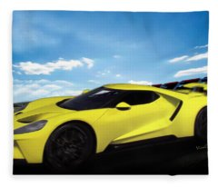2018 Ford Gt At The Track Fleece Blanket
