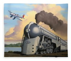 20th Century Limited And Plane Fleece Blanket