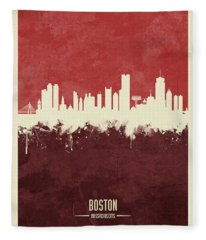 Boston Massachusetts Skyline Fleece Blanket