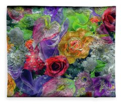 21a Abstract Floral Painting Digital Expressionism Fleece Blanket