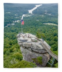 Lake Lure And Chimney Rock Landscapes Fleece Blanket