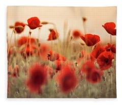Summer Poppy Meadow Fleece Blanket