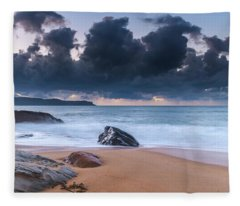 Sunrise Seascape With Clouds Fleece Blanket
