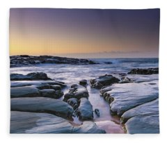 Sunrise Seascape And Rock Platform Fleece Blanket
