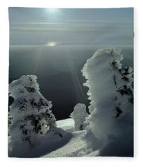 2m4415 A Ice Covered Trees Over Puget Sound Fleece Blanket