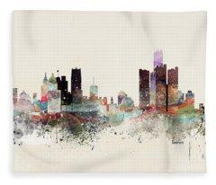 Detroit Michigan Skyline Fleece Blanket