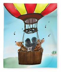 3 Dogs Singing In A Hot Air Balloon Fleece Blanket
