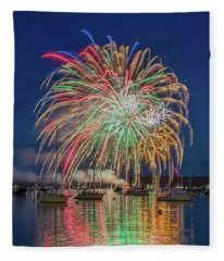 Independence Day Fireworks In Boothbay Harbor Fleece Blanket