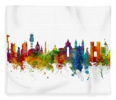 Lisbon Portugal Skyline Fleece Blanket