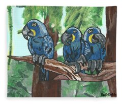 3 Macaws Fleece Blanket