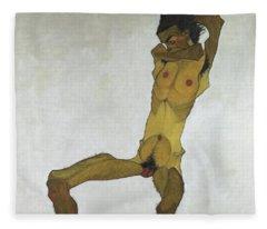 Seated Male Nude Fleece Blanket