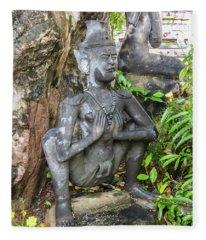 Statue Depicting A Thai Yoga Pose At Wat Pho Temple Fleece Blanket