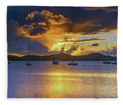 Sunrise Waterscape With Clouds And Boats Fleece Blanket