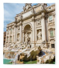 Fleece Blanket featuring the photograph Trevi Fountain by Mats Silvan