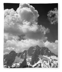 304638 Clouds Over Mt. Stuart Bw Fleece Blanket
