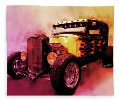 31 Model A Ford Fiery Watercolour Fleece Blanket