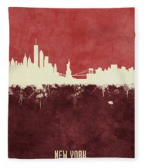 New York Skyline Fleece Blanket