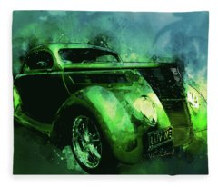 37 Ford Street Rod Luv Me Green Meanie Fleece Blanket