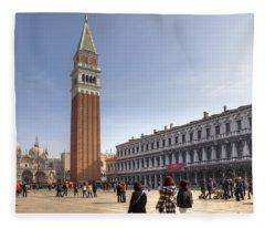 Basilica Di San Marco Photographs Fleece Blankets