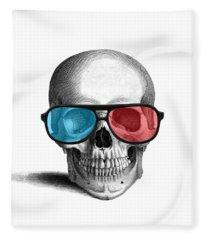 skull with 3D glasses Fleece Blanket