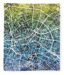 Berlin Germany City Map Fleece Blanket