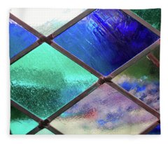 Diamond Pane Glass Blue Fleece Blanket