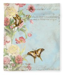 Fleurs De Pivoine - Watercolor W Butterflies In A French Vintage Wallpaper Style Fleece Blanket