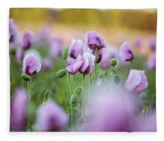 Lilac Poppy Flowers Fleece Blanket