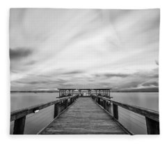Melbourne Beach Pier Sunset Fleece Blanket