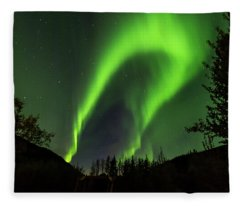 Northern Lights, Aurora Borealis At Kantishna Lodge In Denali National Park Fleece Blanket