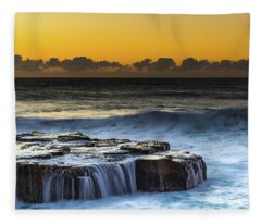 Sunrise Seascape With Cascades Over The Rock Ledge Fleece Blanket