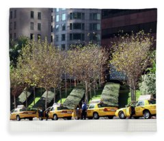 4 Taxis In The City Fleece Blanket