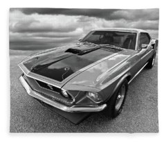 428 Cobra Jet Mach1 Ford Mustang 1969 In Black And White Fleece Blanket