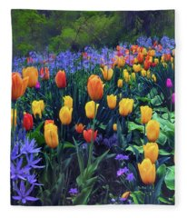 Procession Of Tulips Fleece Blanket