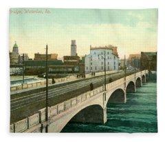 4th Street Bridge Waterloo Iowa Fleece Blanket