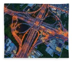 Fleece Blanket featuring the photograph Aerial View Of Traffic Jams At Nonthaburi Intersection In The Evening, Bangkok. by Pradeep Raja PRINTS
