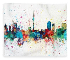 Auckland New Zealand Skyline Fleece Blanket