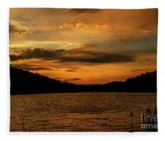 First Light On The Lake Fleece Blanket