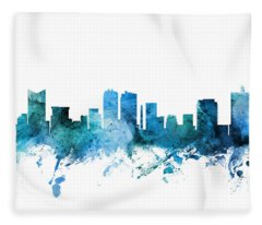 Fort Worth Texas Skyline Fleece Blanket