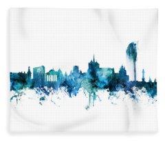 Geneva Switzerland Skyline Fleece Blanket