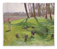 Landscape With Goatherd Fleece Blanket